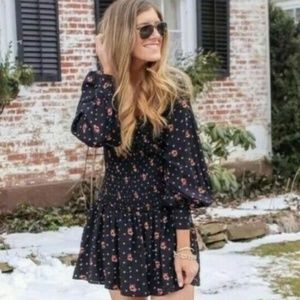 NWT Free People Two Faces Long Sleeve Floral Dress